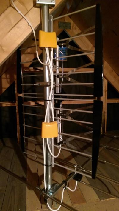 Lite speciell antennmontering på vind men signalkvalitén är bra.